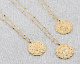 Pisces necklace, zodiac pendant, zodiac sign necklace, minimal necklace, coin necklace, gold pendant, gold medallion necklace