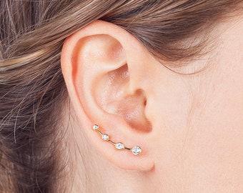 Gold ear climber, dainty cz ear climber, minimalist ear climbers, delicate earrings, cz ear crawlers, dainty earrings, gold earrings