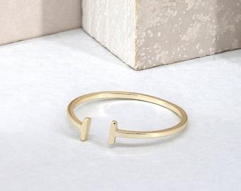 Minimalist open ring, gold bar ring, open bar ring, T ring, gold bar ring, dainty ring, minimalist jewelry, thin gold ring, stacking ring