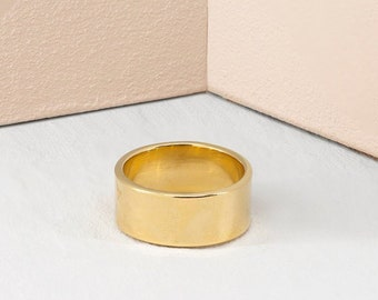 Wide band ring, gold cigar band, statement ring, cuff ring, wide gold ring, gold stacking ring, wide silver band, silver tube ring