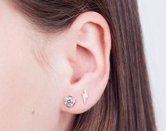 Dainty stud earrings - shiny cz earrings - minimalist earrings - minimal dainty studs - simple gold earrings - nickel free studs -