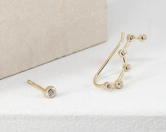 Dainty gold ear climber, minimal ear climber, cz ear climber, constellation ear climber, minimal gold earrings, delicate ear climbers