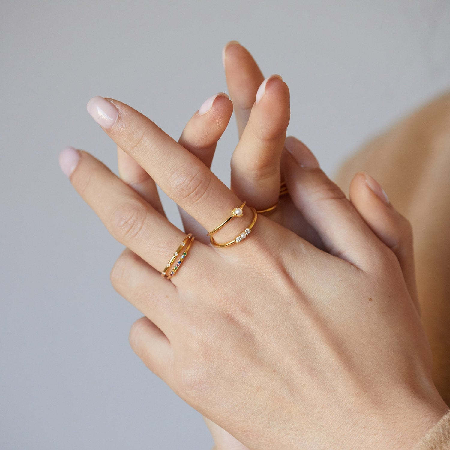 Dainty ring, rainbow ring, minimalist ring, stacking ring, multicolor ring, tiny ring, delicate ring, stackable ring, delicate gold ring for sale