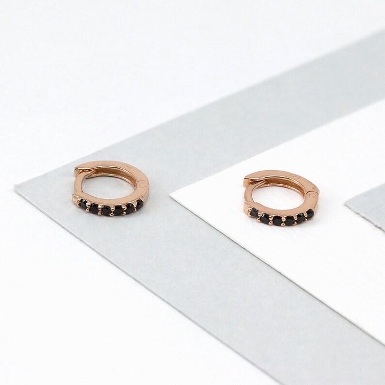83895c941ef8 Aritos de oro rosa pendientes de circonita aros