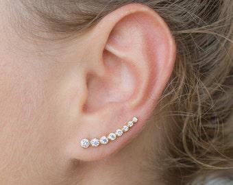 Gold ear climbers, dainty ear climbers, cz ear climbers, minimalist ear climbers, dainty gold earrings, dainty ear climbers, gold earrings