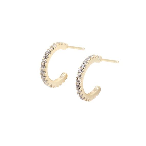Rhinestone Seahorse Hook Earrings Rose Gold Plated