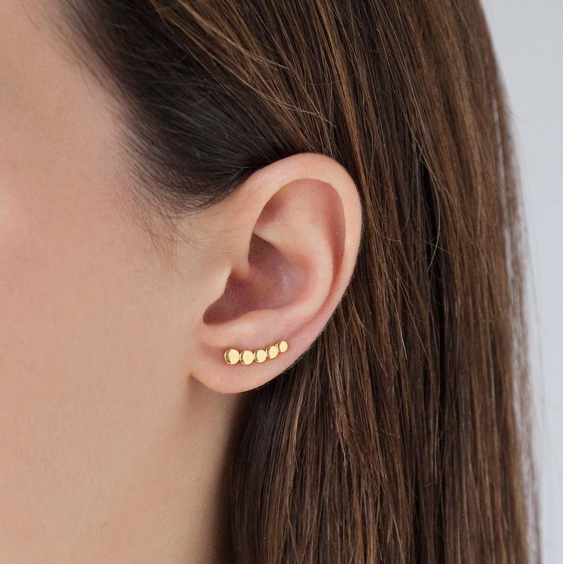 Small ear climber dainty gold ear climber gold circle ear image 1