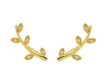 Leaf ear climbers, dainty ear crawlers, bridal earrings, minimalist ear climber, gold leaf earrings, delicate earrings, bridesmaids earring