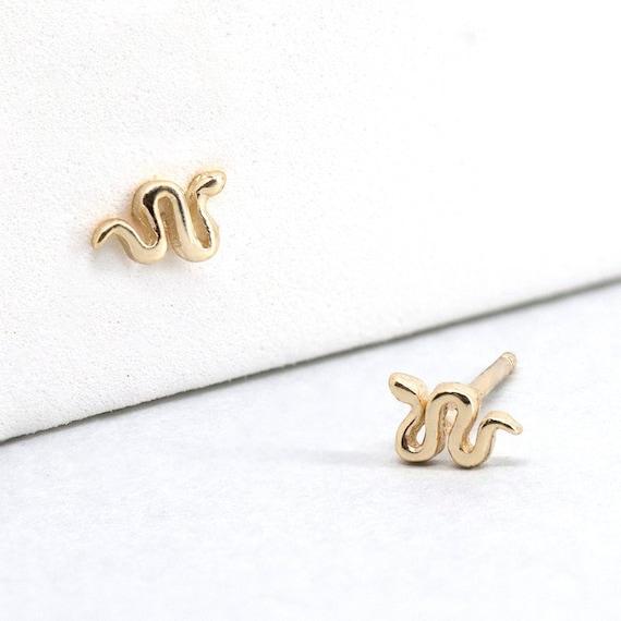 trendy earrings silver earrings delicate studs minimal earrings snake earrings silver snake earrings snake stud snake stud earrings