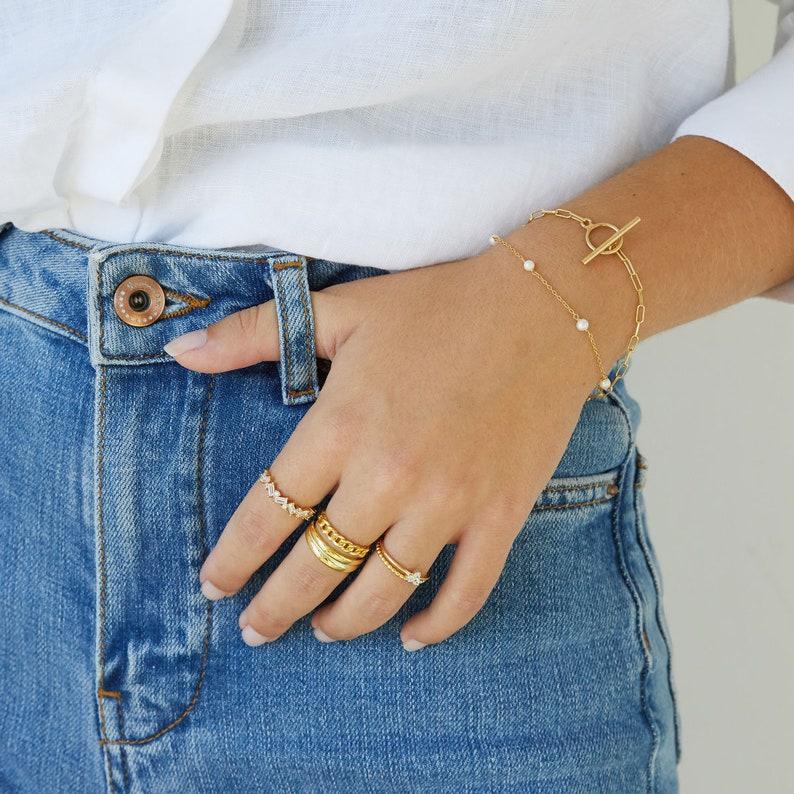 Link bracelet, T bar bracelet, chain bracelet, gold bracelet, minimal jewelry, dainty gold bracelet, paperclip bracelet, toggle bracelet