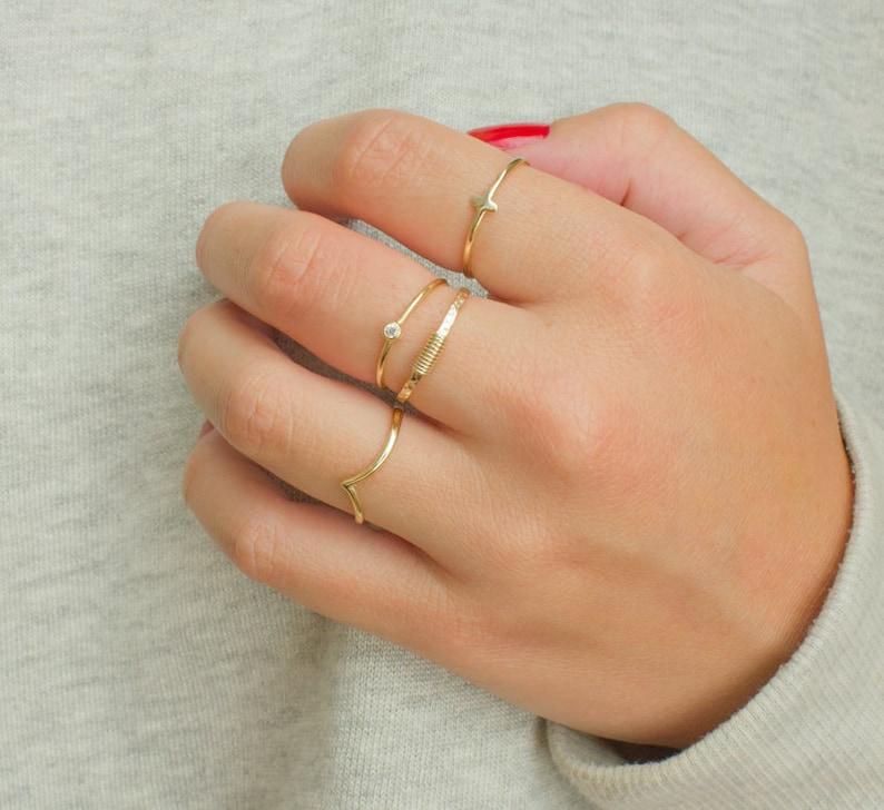 965558659e Dainty stacking rings minimal gold ring set stacking ring | Etsy
