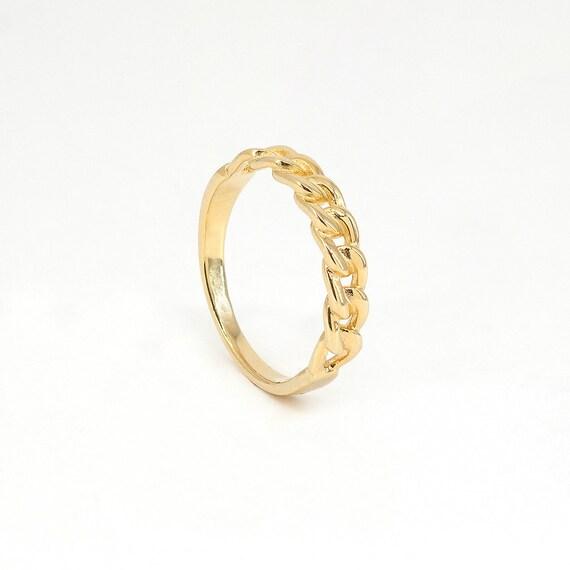 RingKettenringEinfache Minimalistischen Minimaler Link RingeSilberring Kette Zierliche Gold SchmuckZarte E9IHD2WY
