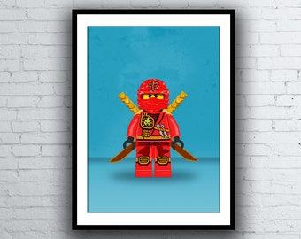 Kai Lego Printable Red Ninja Pixel Art Rise Of The Snakes Etsy