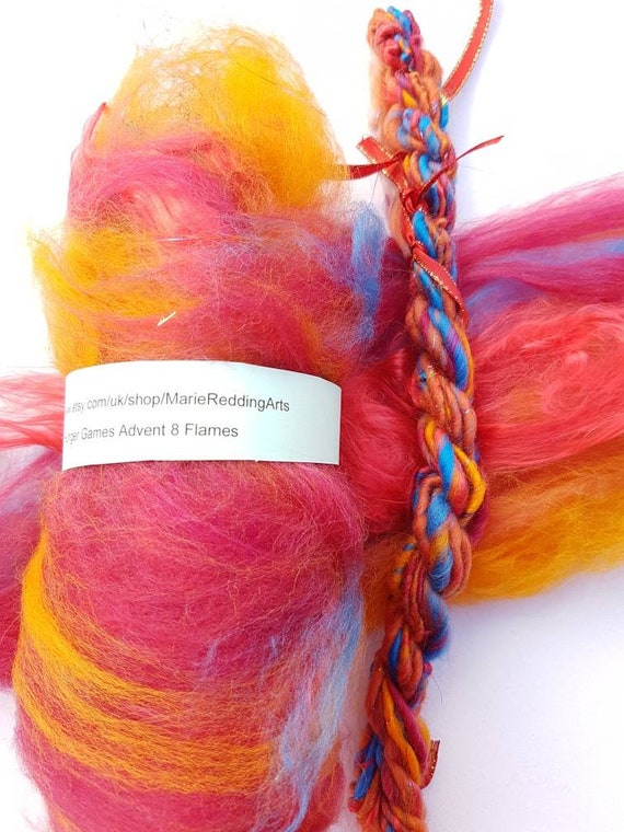 Handspun yarn necklace {sunset sparkle yarn and Be You charm}