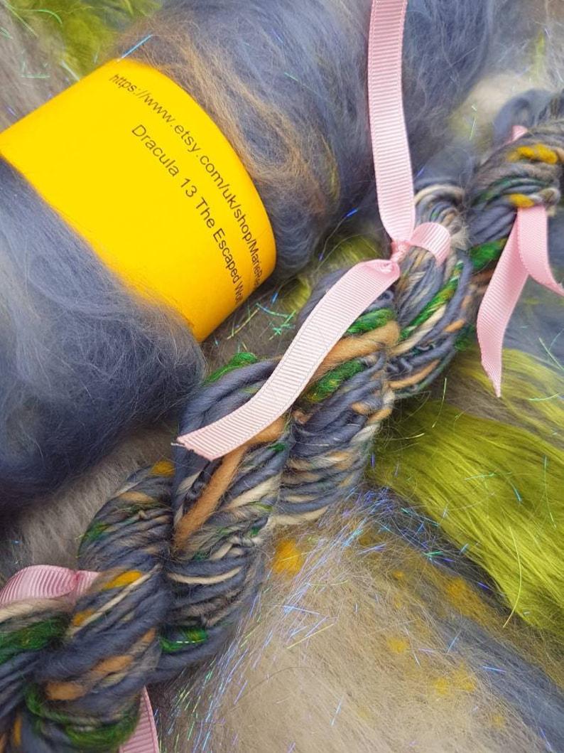 Dracula Gray Art Yarn  13 The Escaped Wolf  110g  Grey  Green  Pistachio  White  Gothic  Vampire  Single Ply   Knitting  Crochet