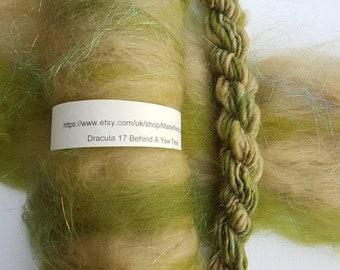 Dracula Green Batt / 17 Behind A Yew Tree / Cream / Pale Green / Moss / Grass / Landscape / Meadow / 50g / Spinning Fibre / Felting Fiber