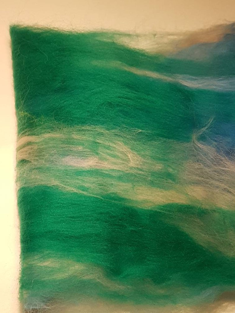 Handcarded Batt  Box Of Delights  9 A Travelling Man  Blue  Green  White  Cobalt  Turquoise  50g  Spinning Fibre  Felting Fiber