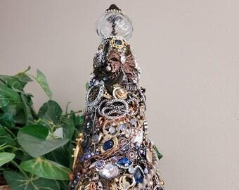 Steampunk Tree, Jeweled gift, STEAMPUNK BLUE, repurposed, tabletop, romantic shabby, Victorian, bride, repurposed, custom, unique Christmas
