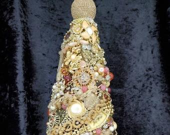 "Jeweled Tree, ""MISTY SPRING"", recycled, Christmas, costume jewelry, rhinestone, unique, Victorian, elegant, bride, repurposed."