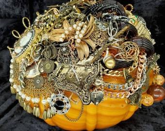 "Jeweled pumpkin, ""STEAM PUNKIN"", steampunk, centerpiece, jeweled pumpkin,  rhinestone, repurposed,"