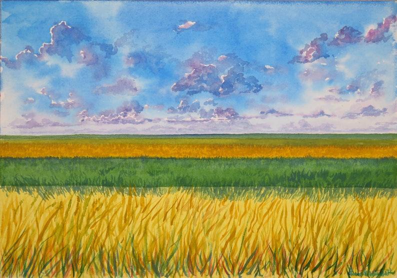 Peinture à Laquarelle Prairie De Champs De Hautes Herbes Et Etsy
