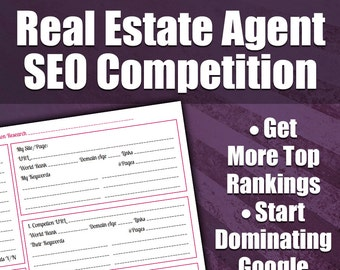 Real Estate Agent SEO Worksheet - Competition Research | Real Estate Marketing Form, Search Engine, Realtor Marketing | PDF Instant Download
