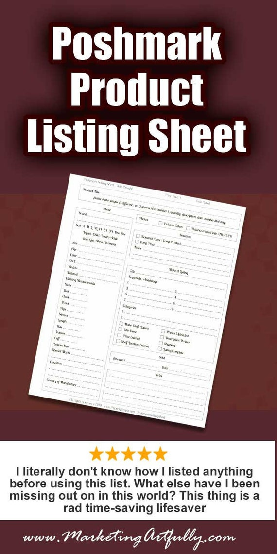 poshmark products listing sheet poshmark seller form etsy