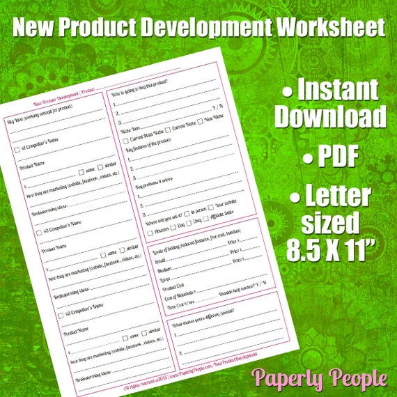 Product Development Worksheet Scope Out New Product Ideas ...