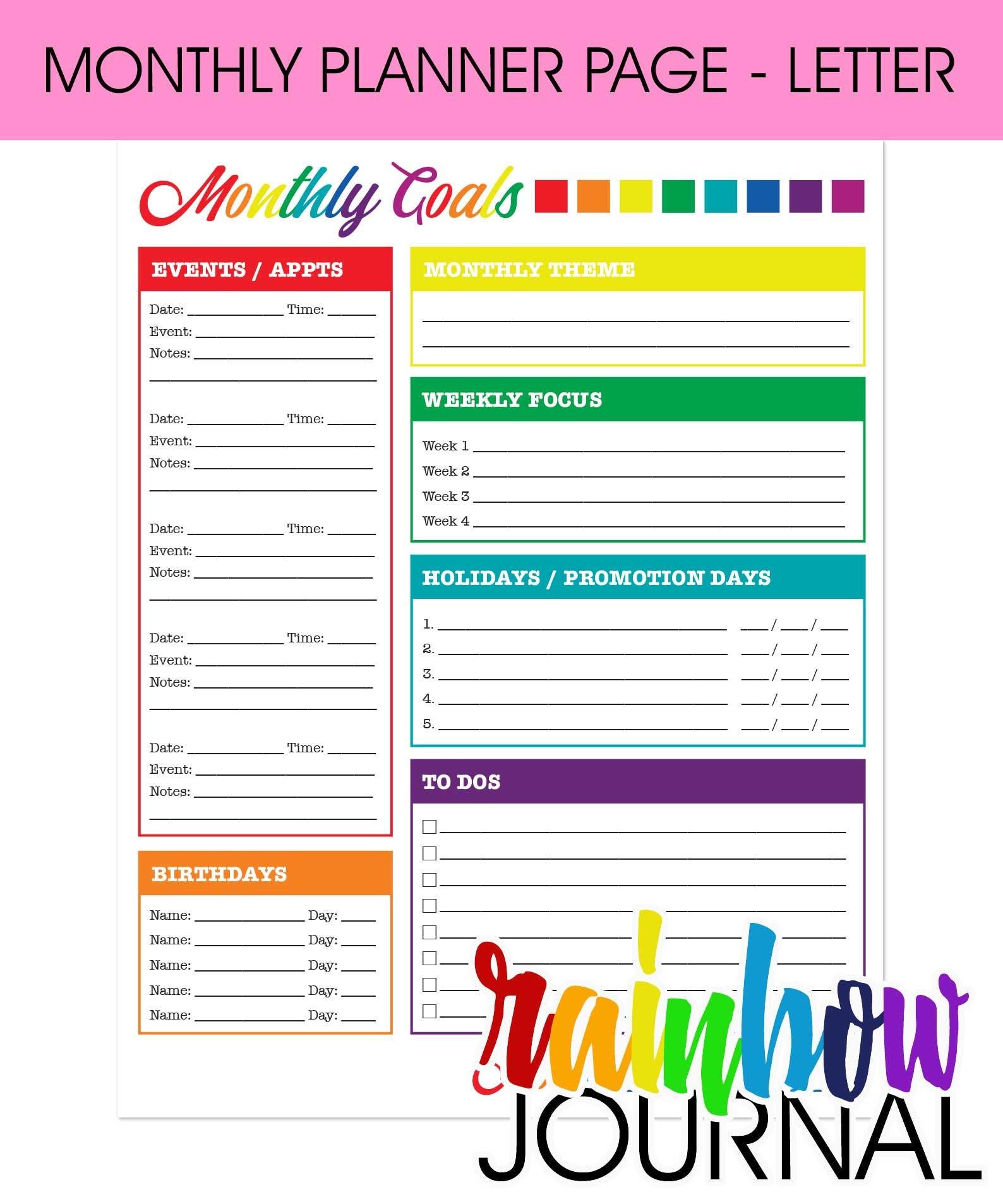 Rainbow Journal Monthly Printable