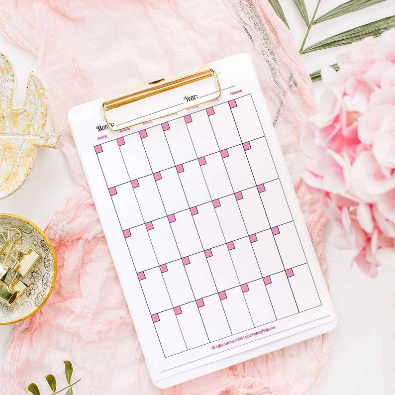 Monthly Calendar Page For Printable Planner  8.5X11 Letter image 0