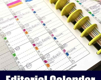 Editorial Calendar for Bloggers, Writers and Content Creators | Blogging, Video, Newsletters, Printable Editorial Calendar, Blog Calendar