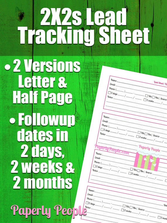 2 by 2s lead tracking sheet sales tools followup form lead etsy