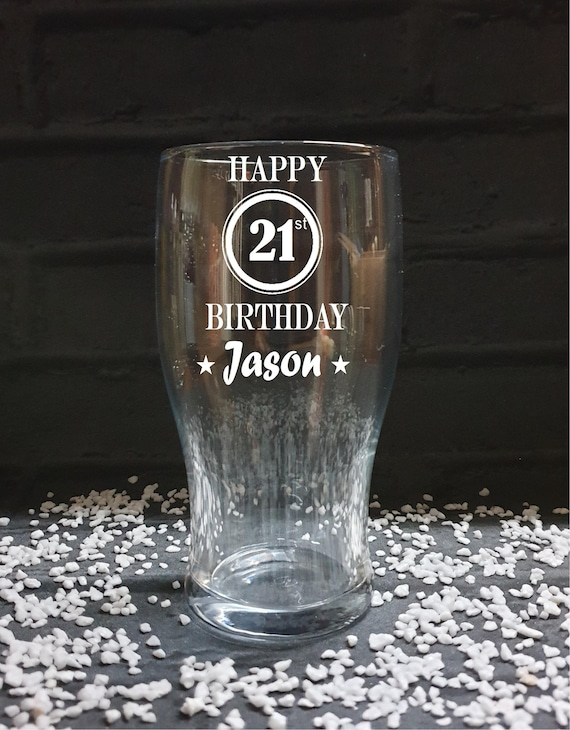 Tulip Pint Glass Free Engraving Personalised Retirement Gift In Gift Box
