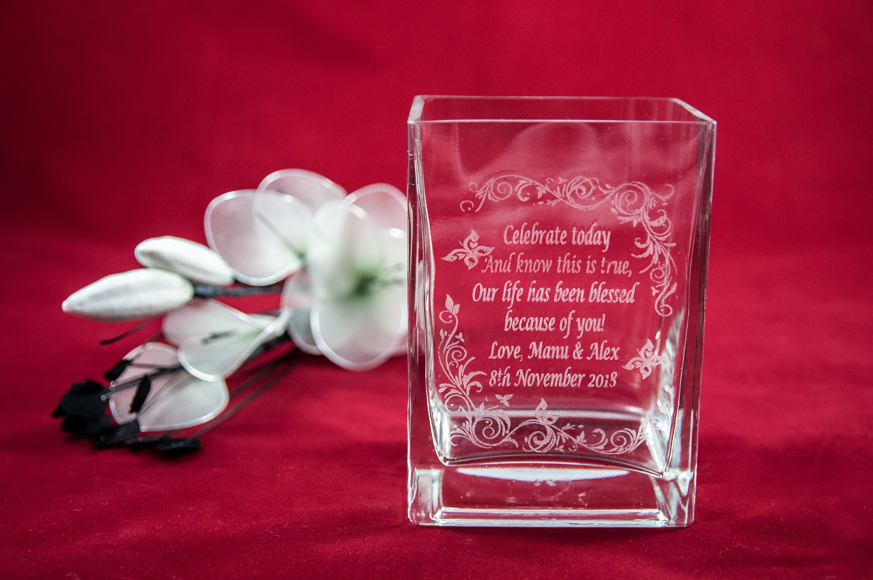Personalised Engraved Glass Square Vase Gift For Wedding, Birthday ...