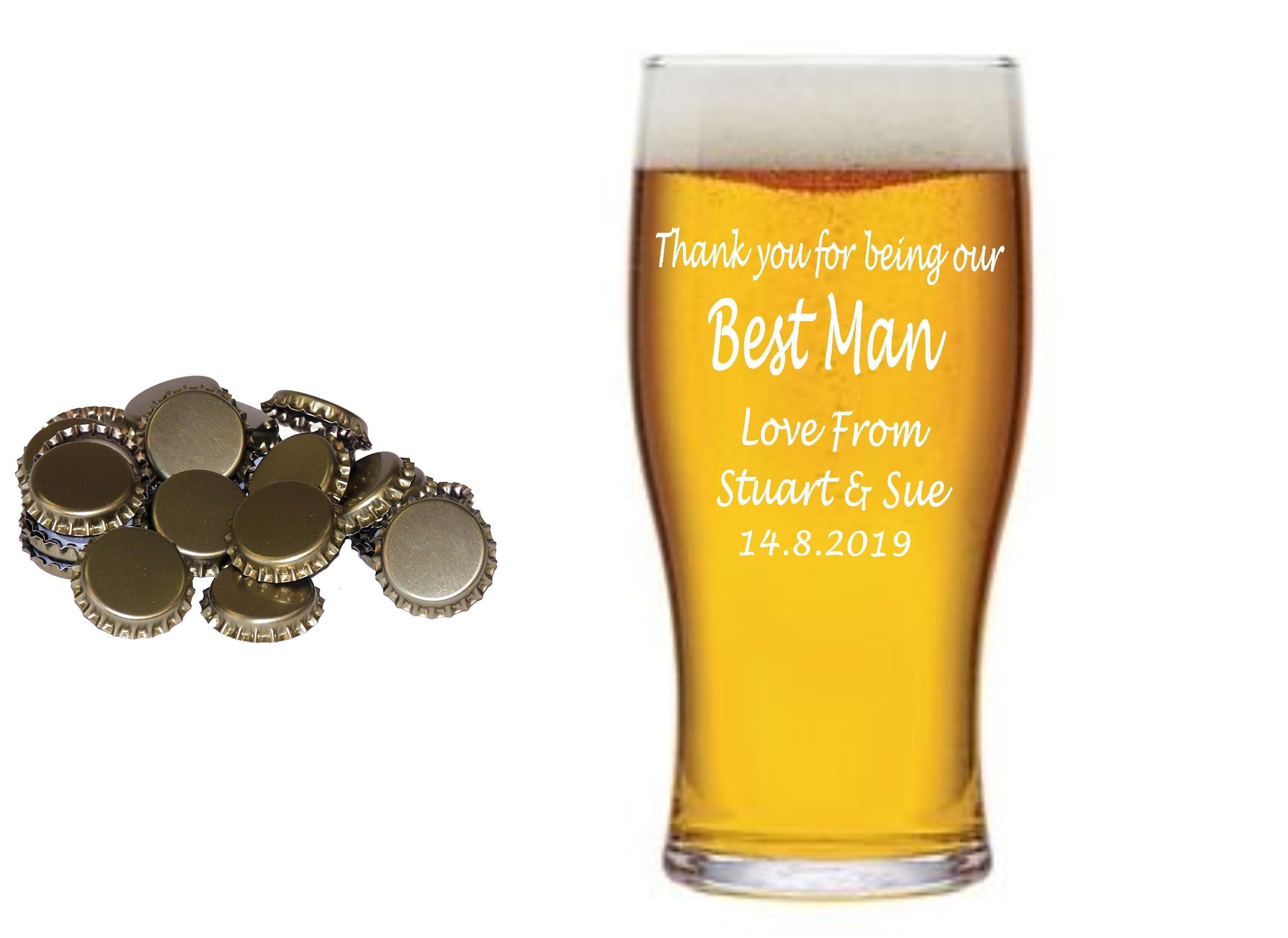 Personalised 1 Pint Beer Lager Glass Engraved With Any Message Thank You Gift