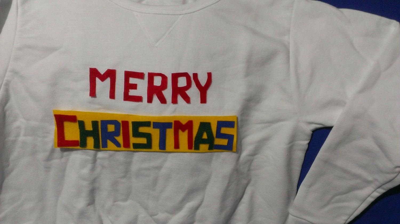 Merry Christmas Ugly Sweatshirt White Costume Handmade NEW | Etsy