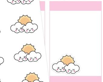 Kawaii Cloudy Planner Stickers, Kawaii Cloudy Stickers, Cloudy Stickers, Kawaii Stickers, Cute Stickers, Weather Stickers