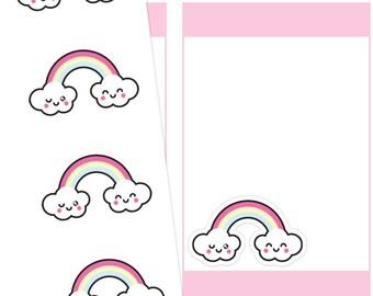 Kawaii Rainbow Planner Stickers, Kawaii Rainbow Stickers, Rainbow Stickers, Kawaii Stickers, Cute Stickers
