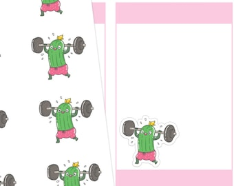 Workout Pickle Planner Stickers, Workout Stickers, Fitness Stickers, Pickle Stickers