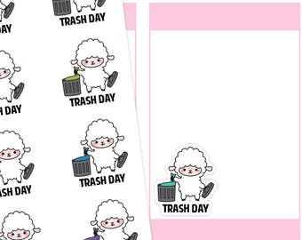Trash Day Planner Stickers, Trash Planner Stickers, Garbage Planner Stickers, Lamb Stickers, Cute Stickers