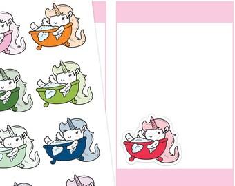 Bath Time Unicorn Planner Stickers, Bath Stickers, Unicorn Stickers