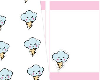 Kawaii Storm Planner Stickers, Kawaii Storm Stickers, Storm Stickers, Kawaii Stickers, Cute Stickers, Weather Stickers