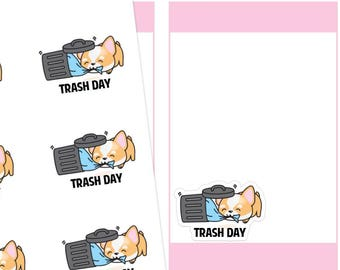 Trash Day Planner Stickers, Trash Planner Stickers, Garbage Planner Stickers, Corgi Stickers, Cute Stickers