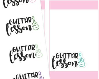 Guitar Lessons Planner Stickers, Guitar Lessons Sticker, Guitar Stickers, Font Stickers, Script Stickers, Typography Stickers