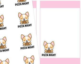 Pizza Night Planner Stickers, Pizza Night Stickers, Pizza Planner Stickers, Pizza Stickers, Food Stickers, Corgi Stickers