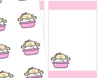 Baby Bath Planner Stickers, Bath Planner Stickers, Baby Girl Stickers, Bath Time Stickers