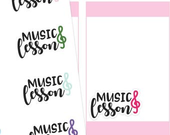 Music Lesson Planner Stickers, Music Lesson Sticker, Music Stickers, Kids Activity Stickers, Script Stickers, Typography Stickers