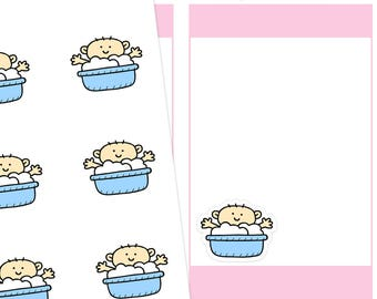 Baby Bath Planner Stickers, Bath Planner Stickers, Baby Boy Stickers, Bath Time Stickers