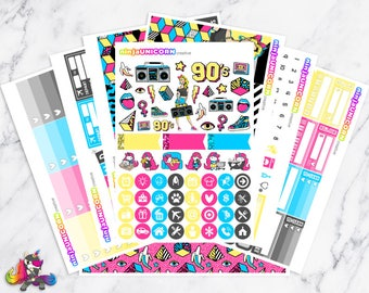 Back To The 90's || Planner Sticker Kit, 1990's Stickers, Planner Stickers, Planner Kit, Childhood Stickers