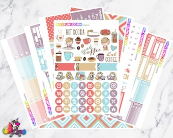 Coffeelicious || Planner Sticker Kit, Coffee, Hot Cocoa, Planner Stickers, Weekly Planner Kit, Planner Kit, Coffee Stickers